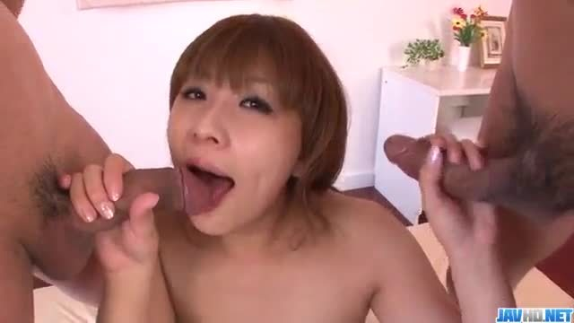 Rinka aiuchi feels excellent with two males