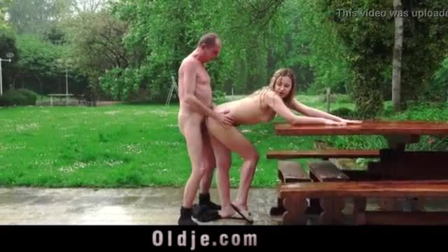 Grandpa fucking and pissing on naughty teen brunet