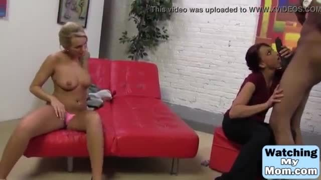 Hot milf teaches her slutty daughter how to handle a huge black cock