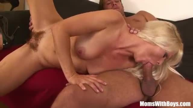 Young blonde and hairy mature enjoying hot sex