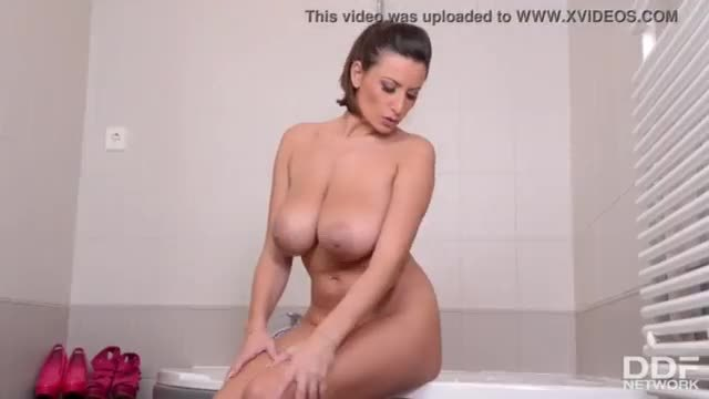 Brunette busty milf sensual masturbation on webcam