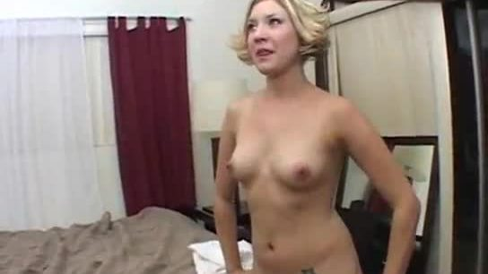 Busty blonde babe tries out for porn