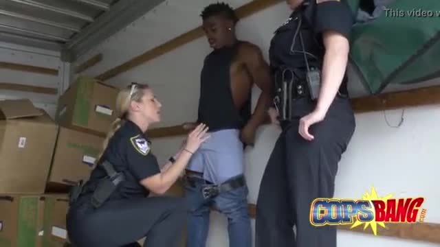 Bitches with massive tits wear cop uniforms to lure black dudes into three way sex