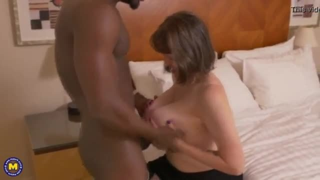 Older busty british grandma takes creampie from black cock