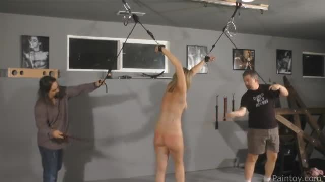 Bbw blindfolded tit torture and cane
