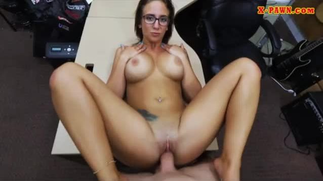 Big tits babe with glasses screwed hard